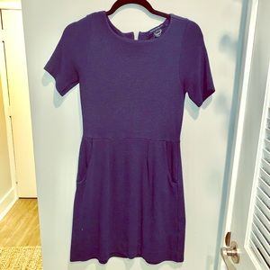 French Connection ribbed short-sleeve navy dress